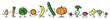 canvas print picture - Cartoon Obst und Gemüse als Panorama Reihe