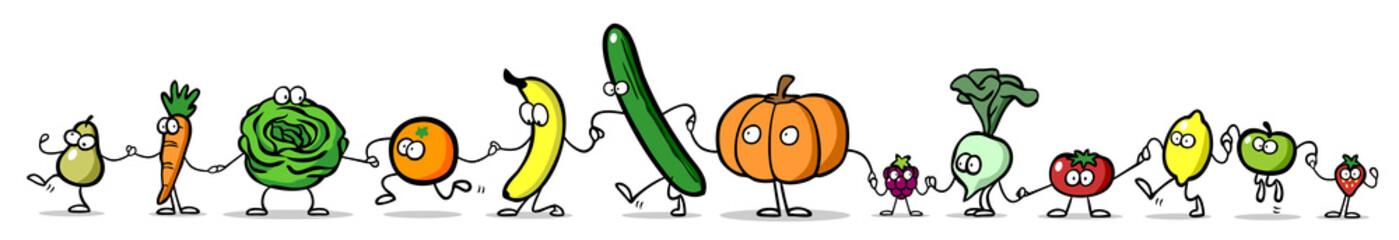 Panel Szklany Podświetlane Warzywa Cartoon Obst und Gemüse als Panorama Reihe
