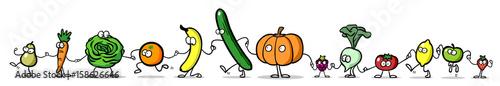 Cartoon Obst und Gemüse als Panorama Reihe