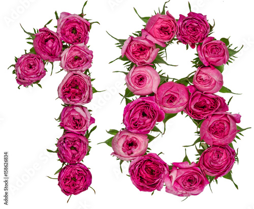 Photographie  Arabic numeral 18, eighteen, from red flowers of rose, isolated on white backgro