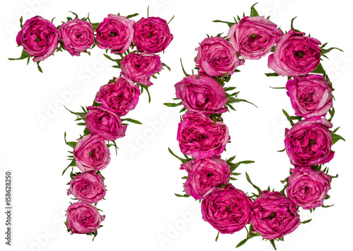 Arabic numeral 70, seventy, seven, from red flowers of rose, isolated on white b Poster