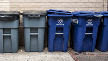 Blue And Gray Garbage Bins