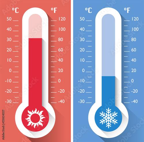 Fotografía  Termometro, temperatura, strumento per misurare le temperature calde e fredde, m