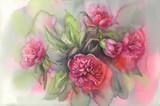 dark violet peonies watercolor - 158642872