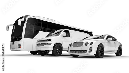 Luxury transportation on white / 3D render image representing an luxury car hir Wallpaper Mural