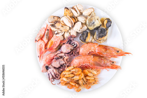 Poster Coquillage Seafood on a white background