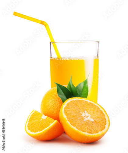 Foto op Plexiglas Sap Glass of orange juice and the oranges