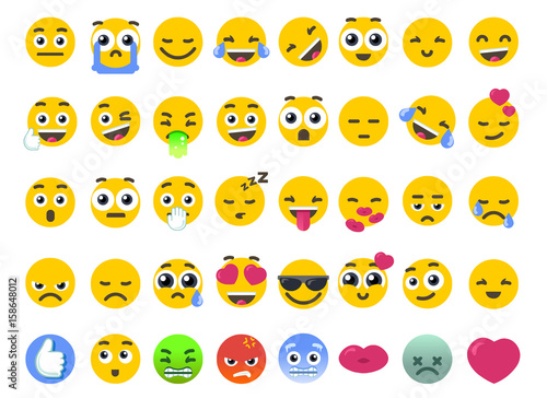 Emoji set of isolated on white vector emoticons stickers. Happy face or like icon as symbol of community chat emotions. Flat illustration vectorial graphics design.