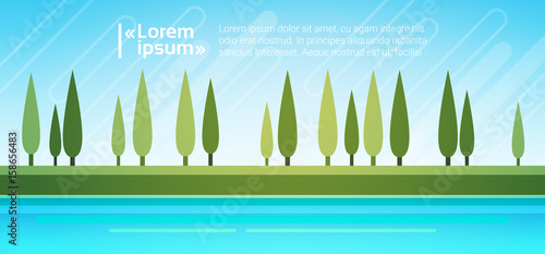 Spoed Foto op Canvas Turkoois Summer Landscape Mountain Forest Trees On River Bank Sky Woods Flat Vector Illustration