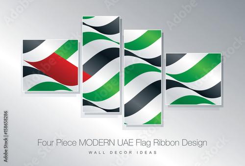 Four Piece UAE Flag Ribbon Wall Decor Design Buy This Stock Vector Adorable Wall Decor Design Graphics