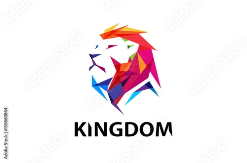 Fotografía  Colorful Lion Head Logo Design Illustration