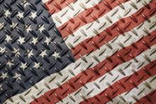 Grunge Vintage American US Flag Over Old Metal