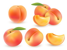 Peach. Sweet Fruit. 3d Vector Set. Realistic Illustration Isolated
