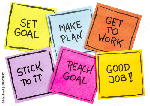 set and reach goal concept on a set of notes Canvas Print