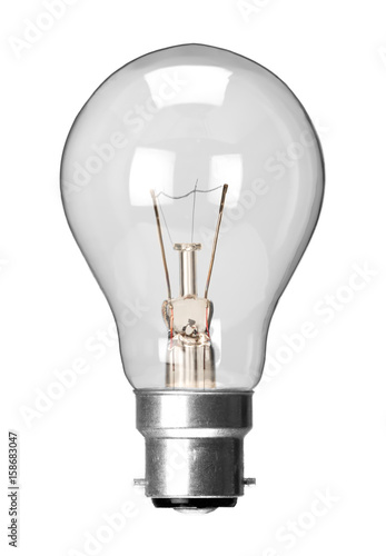 Fotografía Incandescent tungsten filament light bulb with bayonet fitting, isolated on a wh