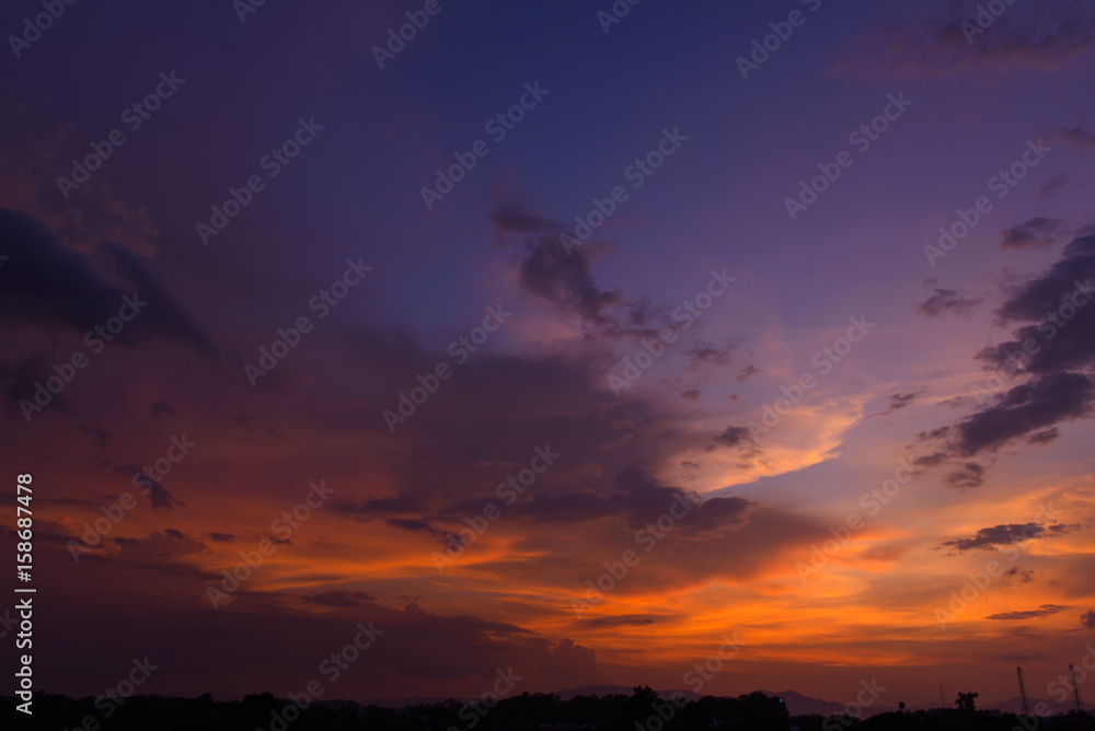 Fototapety, obrazy: Beautiful dramatic natural sunset twilight sky at dusk,abstract evening view background.