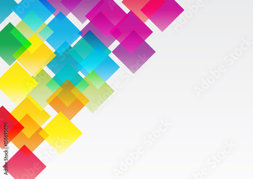 Abstract vector, concept of network. Color geometric background with squares © puckillustrations