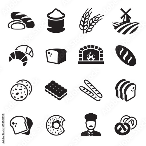 Bakery bread icon set Fototapete