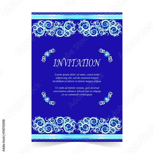 Invitation Card Wedding Card With Ornament On Royal Blue