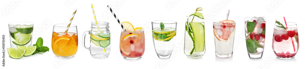 Fototapety, obrazy: Different drinks in glasses on white background. Ideas for summer cocktails