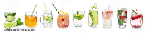 Fotografía  Different drinks in glasses on white background