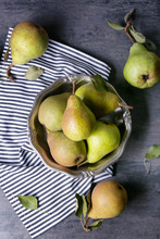 Heap Of Fresh Pears In Metal B...