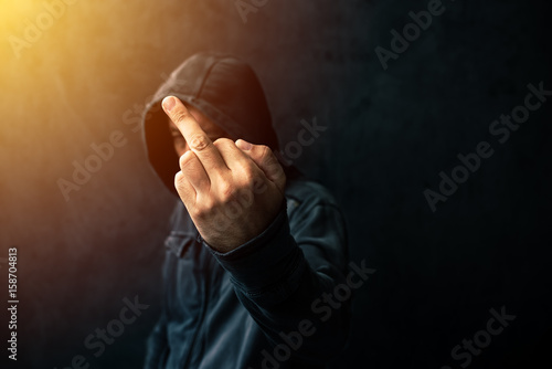 Valokuva  Middle finger, rude gesture