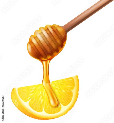 Photo  Wooden honey dipper and lemon. Vector illustration.