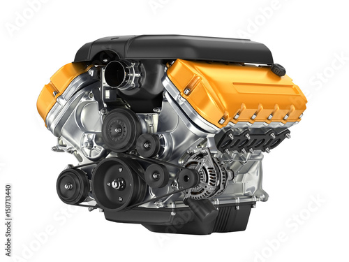Photo Automotive engine gearbox assembly without shadow on white background 3D