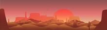Desert Panorama With Cactus An...