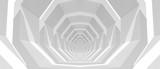 Fototapeta Perspektywa 3d - Empty white tunnel perspective, 3d illustration