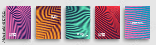 Simple Modern Covers Template Design. Set of Minimal Geometric Halftone Gradients for Presentation, Magazines, Flyers, Annual Reports, Posters and Business Cards. Vector EPS 10 - 158717222