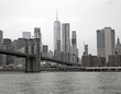 Brooklyn bridge from Hudson river, Black and white