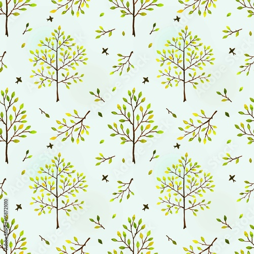 Cotton fabric Seamless background with trees