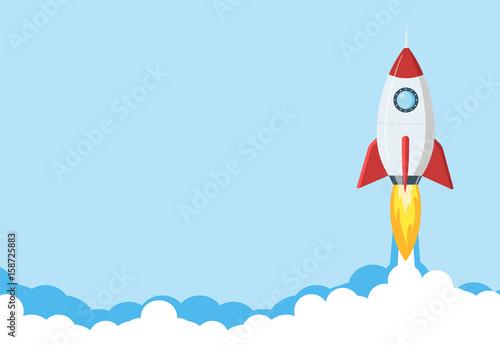 Rocket launch illustration Wallpaper Mural