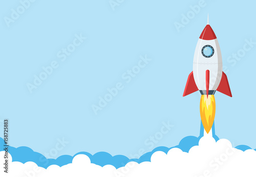 Obraz na plátne  Rocket launch illustration