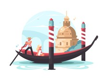 Gondolier Transports Woman In ...