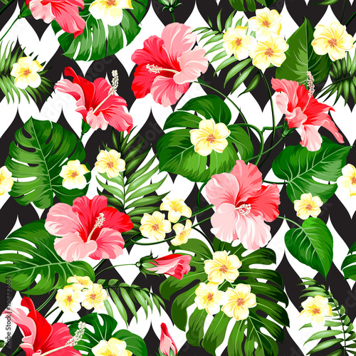 Seamless tropical pattern. Summer flowers of plumeria and hibiscus at fabric swatch. Beautiful tile with a tropical flowers isolated over color background. Blossom plumeria for your design. - 158732684