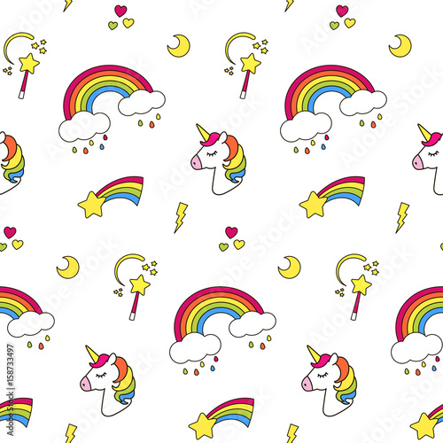 Unicorn Rainbow Star Cloud Magic Wand Seamless Pattern Textile Texture Cute Dreams Magic Concept Cool Colored Decoration Elements Isolated On White Vector Style For Baby Children Girl Buy This Stock Vector