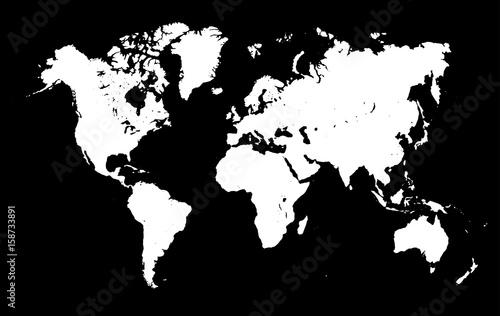 Türaufkleber Weltkarte White World Map on black background - stock vector