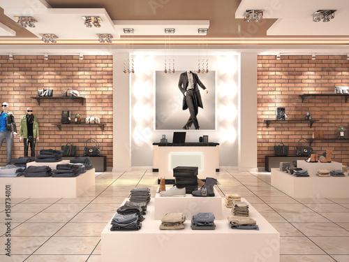 Fotografía  Modern men's fashion store in the mall. 3d illustration