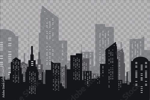 Płaska sylwetka miasta. Nowoczesny krajobraz miejski. Ilustracja wektorowa