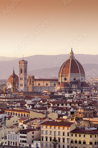 Aluminium Prints Florence Cathedral of Santa Maria del Fiore Dome at sunset, Florence