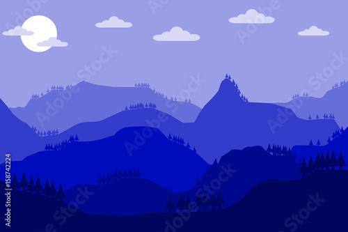 Foto op Plexiglas Purper mountain hill landscape sky background.vector and illustration