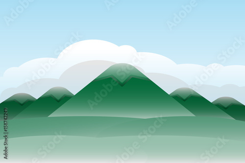 Deurstickers Lichtblauw mountain hill landscape sky background.vector and illustration