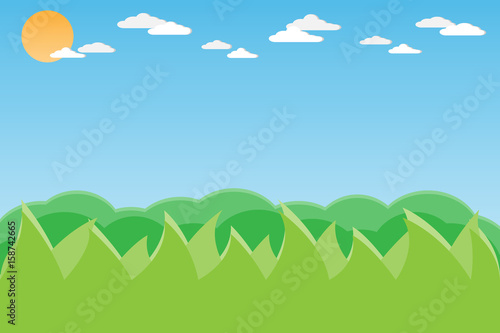 In de dag Pool mountain hill landscape on the sky background.vector and illustration