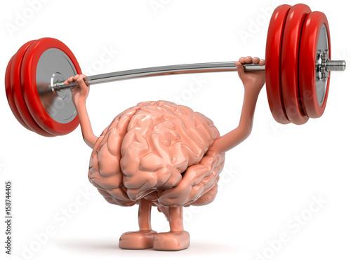 3d Gehirn als Gewichtheber Fotobehang