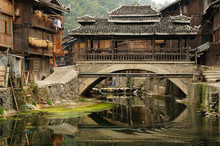 China, Zhaoxing - Gorgeous Dong Village Is Packed Whit Traditional Wooden Structures, Several Wind-and-rain Bridges And Remarkable Drum Towers, Guizhou Province