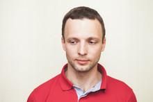 European Man In Red Polo Shirt...