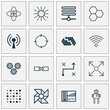 Robotics Icons Set. Collection Of Lightness Mode, Information Base, Atomic Cpu And Other Elements. Also Includes Symbols Such As Related, Network, Brain.